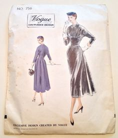 Vintage 1953 Vogue Couturier Design Pattern No. 756 Size 14 One-Piece Dress