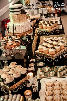 Black, White, and Gold Dessert Display Cake Table Birthday Party