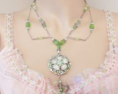 Bridesmaid Necklace Green / Silver Necklace Set- Rhinestone Necklace Statement…- peridot and jonquil Swarovski Crystals and Silver Findings were used in fashioning this necklace.
