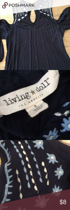 Living Doll Top Navy blue cold shoulder too with embroidery Living Doll Tops Blouses