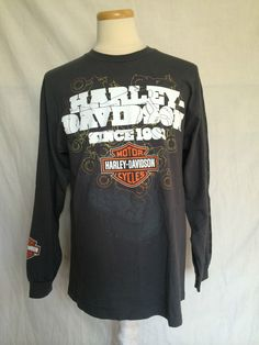 Harley-Davidson Dark Gray Sz Large Mens Sweater Crew Neck Long Sleeves | eBay