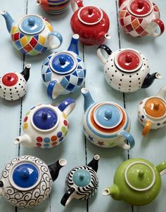 """joodle: """" Teapots photographed by Debi Treloar """"Tea party anyone?When words become unclear, I shall focus with photographs. When images become inadequate, I shall be content with silence.i would love to collect teapotsLots of pretty Teapots"""