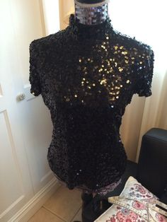 Vintage Tadashi Black Pleated Beaded Sequin Top Blouse sz L / Neimun Marcus #TadashiShoji #Blouse