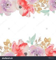Colorful Watercolor Flower Border Cute Painted Background Frame