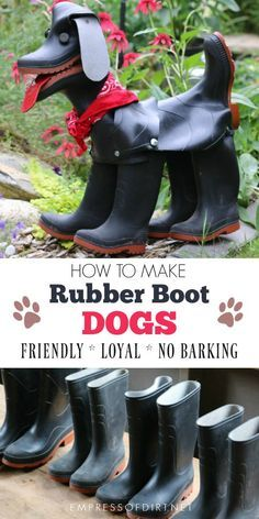 Recycled Rubber Boot DOG This recycled project shares tips for making garden art dogs from old rubber boots or wellies.This recycled project shares tips for making garden art dogs from old rubber boots or wellies. Recycled Garden Art, Recycled Art Projects, Metal Garden Art, Diy Garden Projects, Recycled Crafts, Garden Ideas, Recycling Projects, Concrete Garden, Recycler Diy