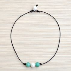 Pearl and Green Aventurine Necklace/Green Jewelry/Pearl and Leather Choker Necklace/Green Gemstone Jewelry/Aventurine and Leather/Choker by BonafideBeads on Etsy