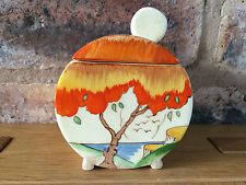Fabulous Clarice Cliff Art Deco 1935 Taormina Orange Patterned Bonjour Jam Pot