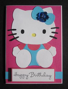 Handmade Pink & Blue Hello Kitty Birthday Card by Anything Scrappy  www.anythingscrappy.com