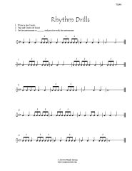 Rhythm worksheets page with eighth notes, dotted quarters and 6/8