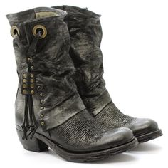 A.S.98 Shoes Boot with heel Crea14 522209 Leather Black as98 Airstep #AS98 #Stivale