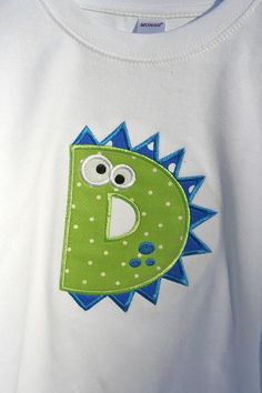 Dinosaur number or Initial Applique Tee