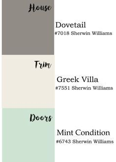 Exterior paint colors by Sherwin Williams: dovetail, Greek villa and mint condition. Rever trim and exterior colors. Exterior Color Schemes, Exterior Paint Colors For House, Paint Colors For Home, Exterior Design, Exterior Paint Ideas, Outdoor House Colors, Outside House Paint Colors, Stucco House Colors, Gray Exterior