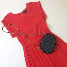 Marc by Marc Jacobs Red Short Sleeve Crêpe Dress Beautiful cotton crêpe material, loose fitting, casual and flirty, this adorable day dress can be worn sweet or edgy - whichever mood you're in! Exposed zipper, cuffed sleeve detail, perfect condition, worn only a couple times! Marc by Marc Jacobs Dresses