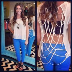 strappy top and blue cropped skinnies