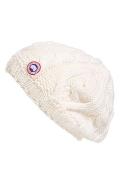 Canada Goose Cable Knit Merino Wool Beanie - White