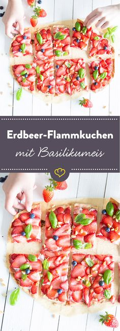 Hauchdünner Erdbeerflammkuchen und cremiges Basilikumeis lassen Naschkatzen schwach werden. Schnapp dir hier das Rezept und probier es gleich aus.