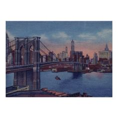 Vintage Blue New York City Night Artwork Poster