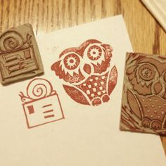 Stamps carved by Jessica Davey