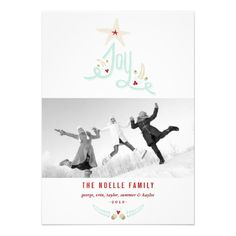 Rustic Hand Drawn Joy Christmas Holiday Greeting Announcement