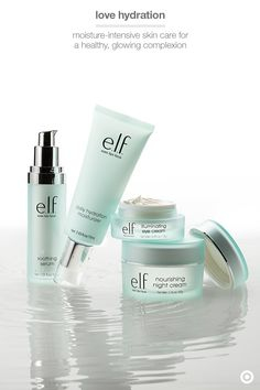 Thirsty skin? Tight beauty budget? This hydration-rich skin care from e.l.f. gets the job done for just a fraction of the price. Soothing Serum locks in moisture to give a little extra love to problem areas and wrinkles. Daily Hydrating Moisturizer is lightweight and has Jojoba, aloe, vitamin E and cucumber to protect skin. Illuminating Eye Cream helps minimize puffiness and dark circles. And Nourishing Night Cream has lots of nutrients and antioxidants to rehydrate skin while you sleep.