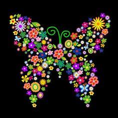 Vlinder samengesteld uit kleurrijke bloemen.