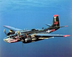 Douglas A-26 Invader. The Korean War saw a lot of US Aircraft painted black. RADAR had matured enough to become reliable for bombing.  Black aircraft became common in the USAF, the Navy, and the Marine Corps.