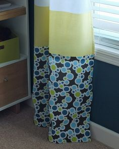 No Sew Custom Curtains... And I love the decorating in this kid's room.