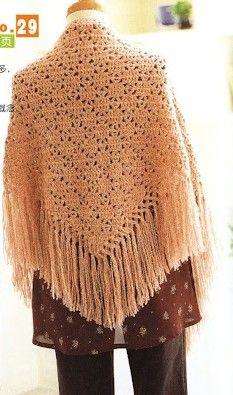 Salmon Long Fringe Shawl free crochet graph pattern