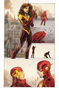 The Flash's girlfriend Iris in her suit that will protect her from the forces of traveling at super-speed with him.