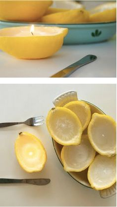 DIY Lemon Candles, these could look nice among some ferns as table decor