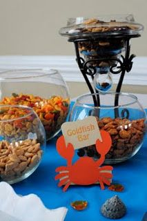 Or could do chex mix Leafy Tree Tops: Ocean themed birthday party Underwater Birthday, Underwater Party, 3rd Birthday Parties, Birthday Ideas, 2nd Birthday, Monkey Birthday, Ocean Party, Beach Party, Shark Party