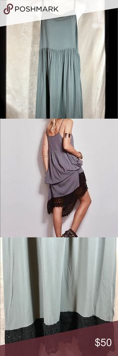 a98893c65383 Free People NWOT Maxi Dress w/Crocheted Lace, Med Roomy, cool &