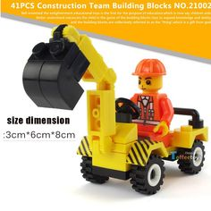 Excavator truck puzzle assembly plastic bricks child toy car Model assembled suite Wood blocks and amount