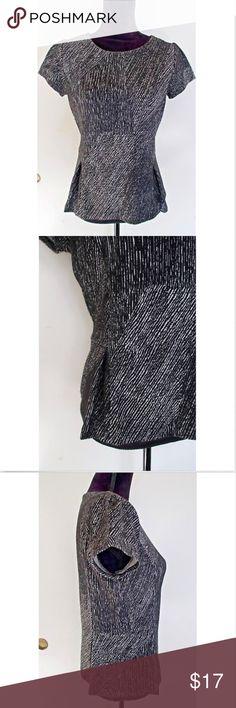 Liz Claiborne Gray Black Career Work Peplum Blouse Great shirt to wear to work!  Add a statement necklace or wear under a blazer. Liz Claiborne Tops Blouses
