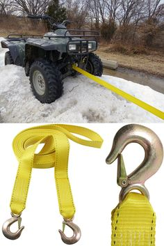 A great gift idea for him, the everyday handyman! These tow straps have a safe work limit of 3,333 lbs and can tow your ATV, Gator, sled and other heavy duty equipment.