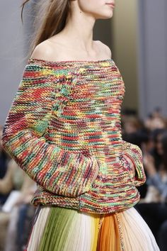 PFW: Chloé Takes it Back to 90's Bohemian Grunge   Off the Shoulder Sweater   Fall   The Luxe Lookbook