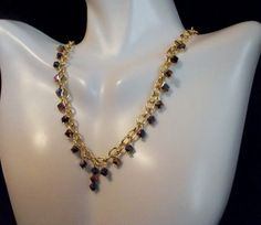 Rainbow Bi-Cone and Gold Chain Necklace and by Culbertscreations