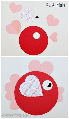6 Heart Shaped Animals with FREE printable PDF's ~ Heart Shaped Fish Valentine crafts for kids