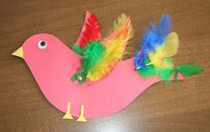 bird with feathers craft! love the use of real craft feathers