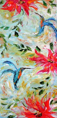 Original impasto painting Hummingbird Dance and Flowers OIL palette knife modern impressionism fine art impasto by Karen Tarlton via Etsy