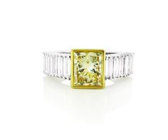 An White and Yellow Gold Diamond Ring with a Fancy Yellow Rectangular Diamond in the Center Gold Diamond Rings, Diamond Engagement Rings, Colored Diamonds, Jewelry Collection, Bracelet Watch, Fancy, Jewels, Yellow, Accessories