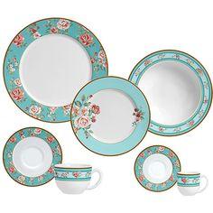 Aparelho de Jantar 20 Peças Faiança Felsdpática Romantique Branco