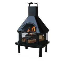 Black Metal Wood Burning Outdoor Fireplace With Chimney