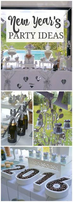 This lovely New Year's party is all done up in white and silver! See more party ideas at CatchMyParty.com!