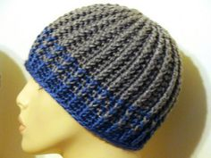 Reversible Strands for Men (and Women, too!) pattern by Nancy Smith Free Ravelry pattern using the front double crochet stitch (for the ribbing). Really easy hat pattern. Crochet Adult Hat, Bonnet Crochet, Crochet Hat For Women, Crochet Beanie Pattern, Crochet Baby, Free Crochet, Knit Crochet, Crochet Patterns, Double Crochet