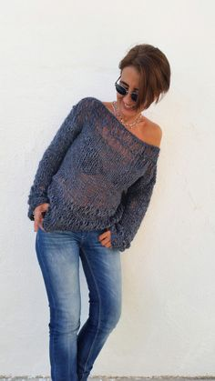 Loose knit sweater women knit sweater hand knit by EstherTg Loose Knit Sweaters, Hand Knitted Sweaters, Rib Stitch Knitting, Hand Knitting, Gilet Crochet, Rainbow Sweater, Fashion Corner, Off Shoulder Sweater, Knitwear