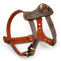 Berry Pet Brown Genuine Leather Dog Harness,for Small Medium and Large Dogs ,Training and Walking Harnesses * Continue to the product at the image link.