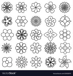 Outline flower icon set draw vector image on VectorStock Flower Pattern Drawing, Flower Patterns, Beading Patterns, Flower Design Drawing, Simple Flower Drawing, Leaf Drawing, Doodle Drawings, Doodle Art, Tattoo Drawings
