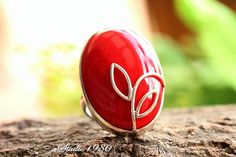 Artisan Red Coral ring  Oval ring  Bold ring  Bezel by Studio1980