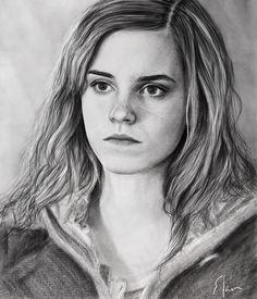 Drawing portrait Hermione Granger (Emma Watson) Harry Potter 7 Part 1 😍❤👍✏ - - Harry Potter Tumblr, Harry James Potter, Harry Potter Hermione, Hermione Granger Drawing, Harry Potter Sketch, Harry Potter Diy, Harry Potter Characters, Harry Potter Portraits, Harry Potter Artwork